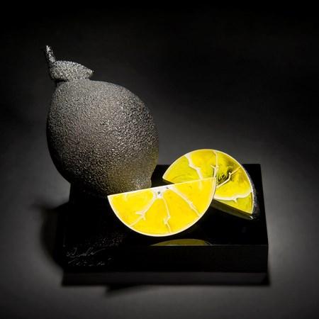 modern art glass still life sculpture of lemons