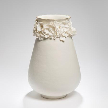 porcelain ware inspired ceramic art vase in cream and gold lustre