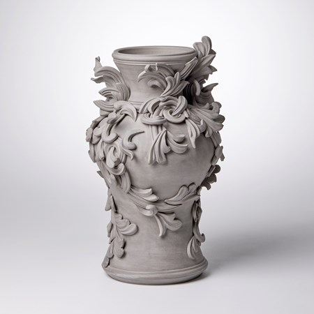 coloured stoneware ceramic vase with decorative classical italian trim