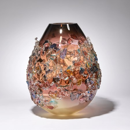 aubergine cream and multicoloured contemporary shard covered art-glass sculptural vessel made from handblown glass