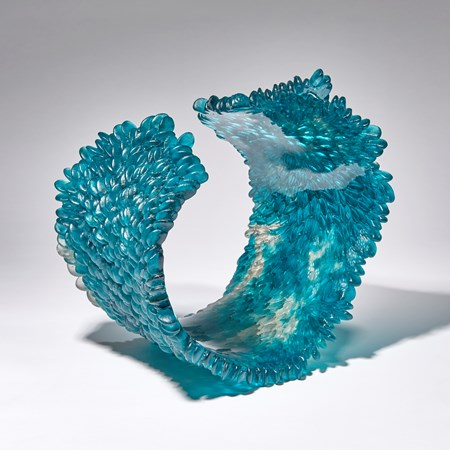 blue grey and teal contemporary textured art-glass sculpture made from cast glass