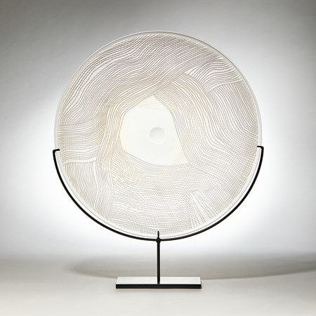 grey gold and clear round sculptural glass plate made from handblown and cut glass with metal stand