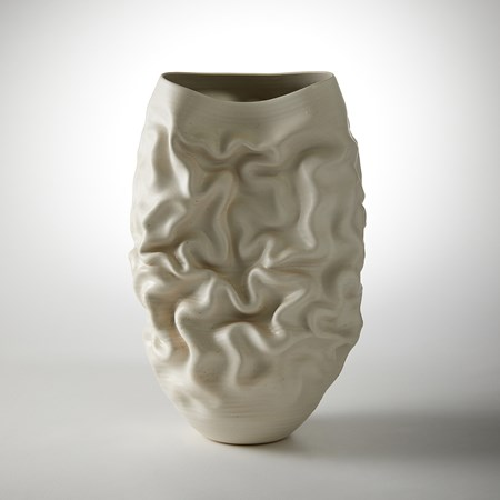 ivory stoneware contemporary wrinkled sculptural vessel handmade from clay