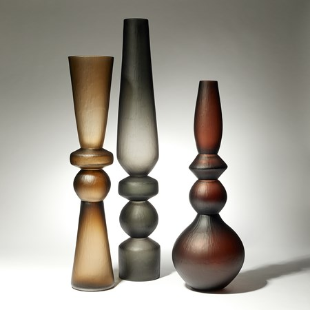 amber grey and brown balustrade shaped tall handblown and cut large sculptural vases