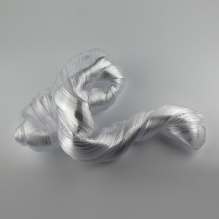 glossy white organic ridged twisting candy like sculpture handmade from glass