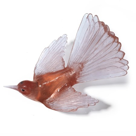 art glass sculpture of fan tail bird in light and dark pinky peach