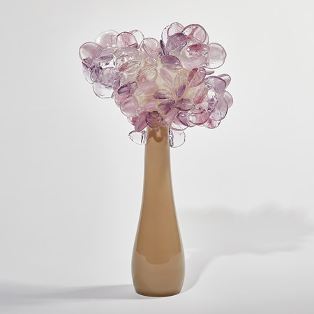 sculptural simple tree form with simple round glass leaves handmade from glass