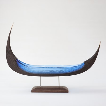 aqua blue viking ship with textured hull handmade from glass and oak