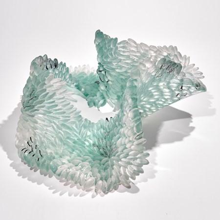 jade grey and black coral reef textured handmade glass sculpture