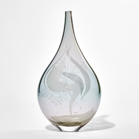 soft grey and duck egg blue transparent teardrop shaped handmade glass vase with organic detailed engraved patterns