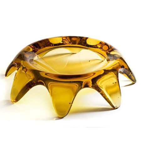 cold cast glass grandfather's bowl sculpture looking like upside down ashtray in amber